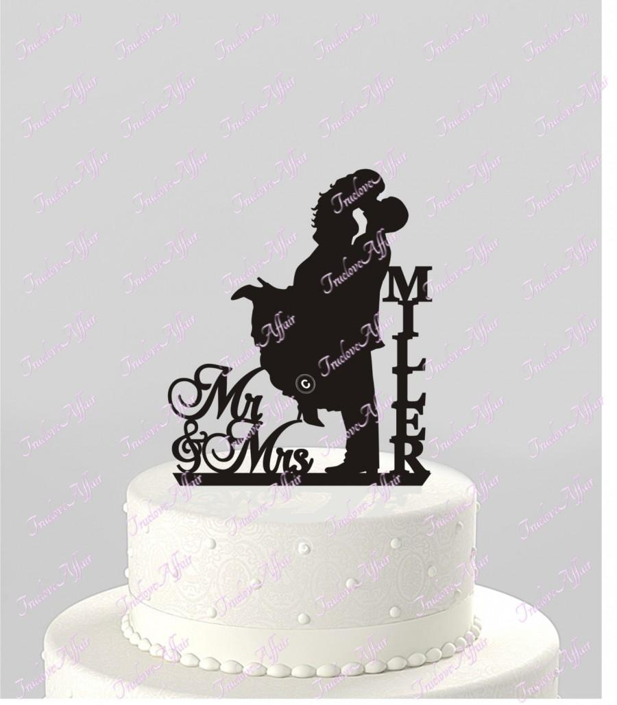 Mariage - Wedding Cake Topper Silhouette Couple Mr & Mrs Personalized with Last Name, Acrylic Cake Topper [CT18mm]