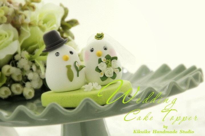 Wedding - birds Wedding Cake Topper-love bird with sweet heart base (K324)