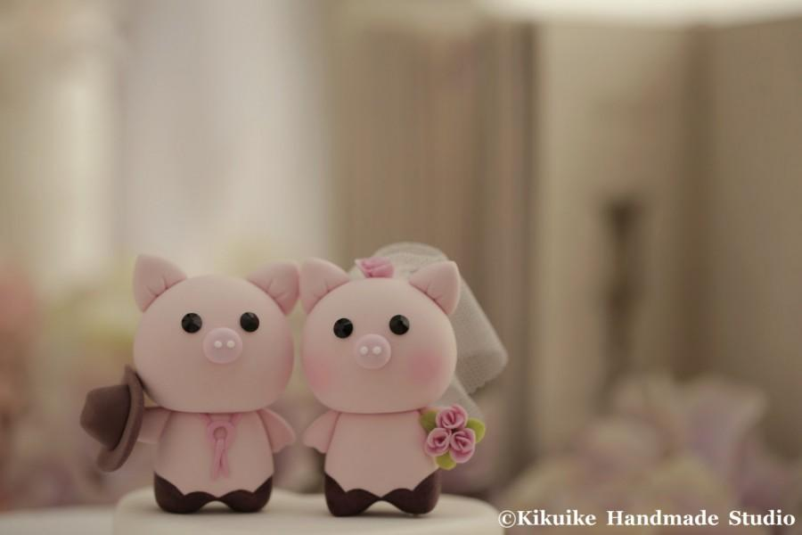 Boda - Pig and  Piggy Wedding Cake Topper---k778