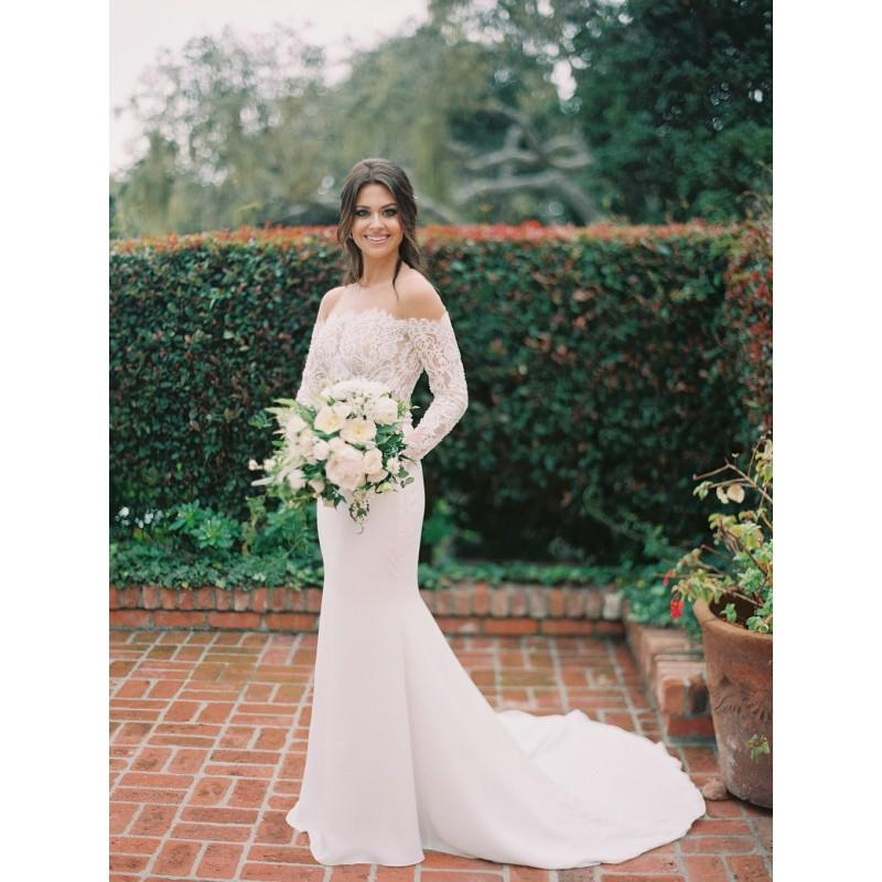 Wedding - Sweep Train Column White Elegant Off-the-shoulder Long Sleeves Lace Spring Garden Zipper Up Appliques Bridal Dress - overpinks.com