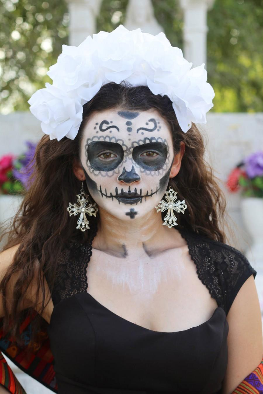 Wedding - White Flower Crown Headband (Halloween Costume Day of the Dead Headpiece Wreath Wedding Music Festival Floral Catrina Sugar Skull Mexican)