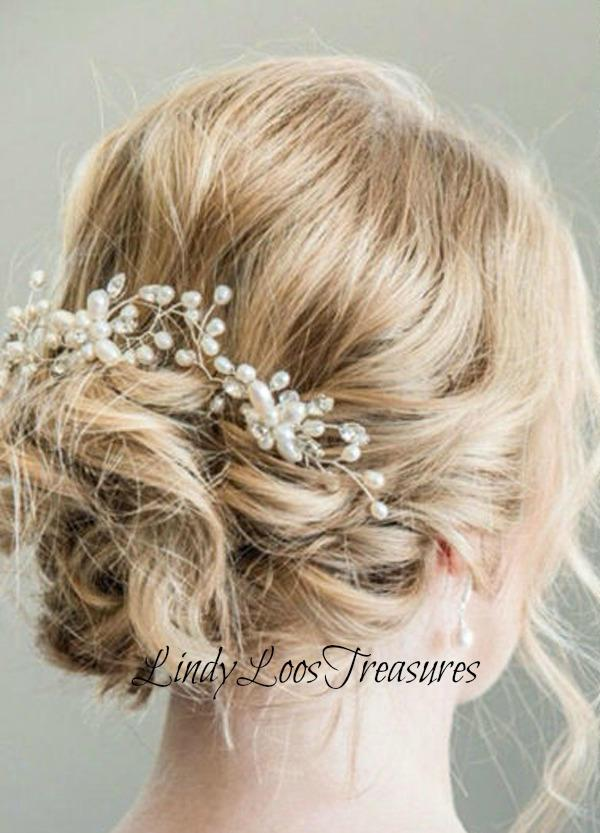Boda - Handmade Crystal Pearl Flower Hair Pin, Bridal Hair Accessories, Bridal Head Piece, Pearl Hair Pins, Silver and Gold Hair Pins, Prom
