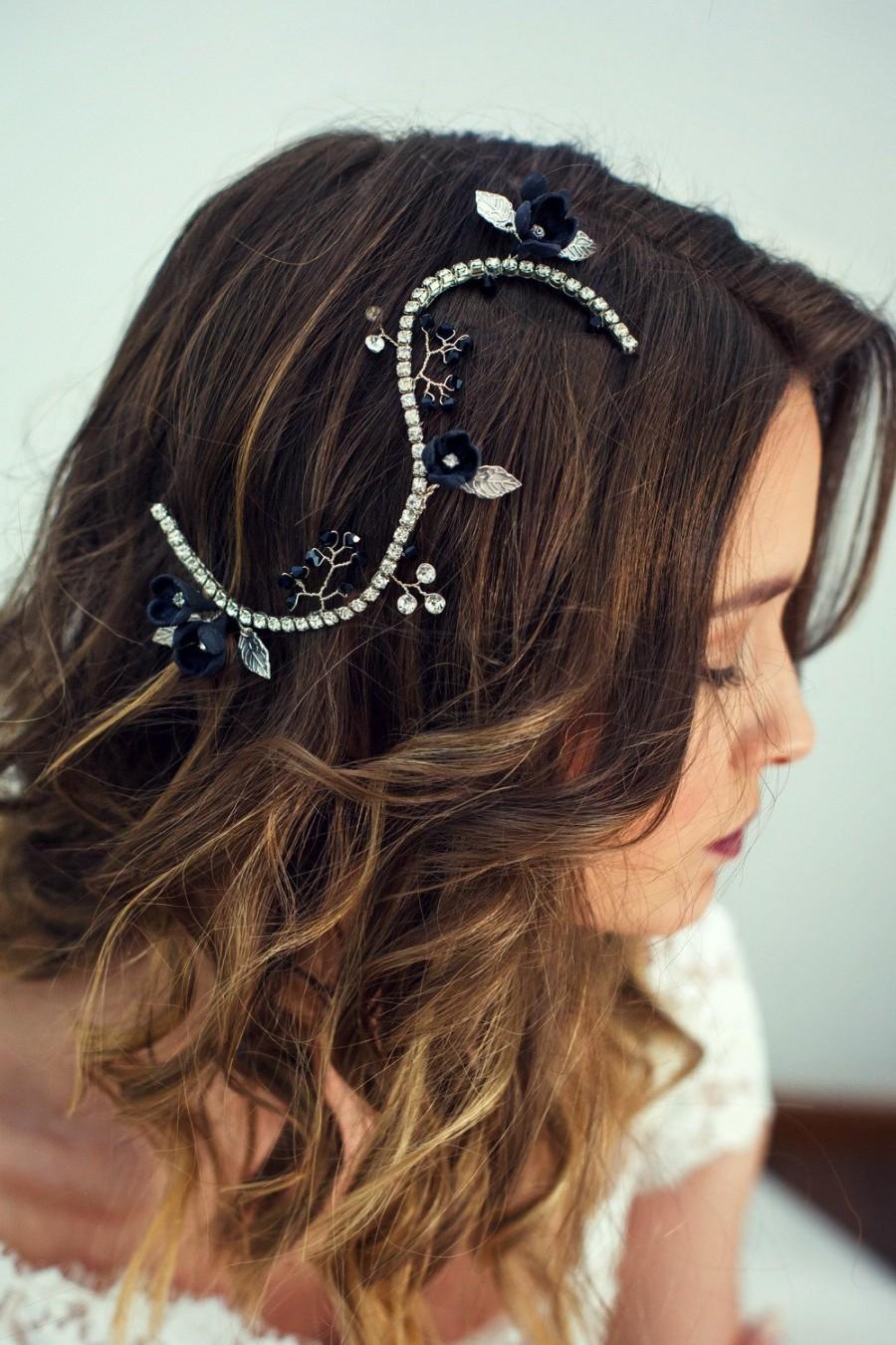 Wedding - Bridal black hairpiece, Black hair piece, Wedding black floral hair vine, Bridal blak headpiece, Wedding black flower hair jewelry, Hairvine