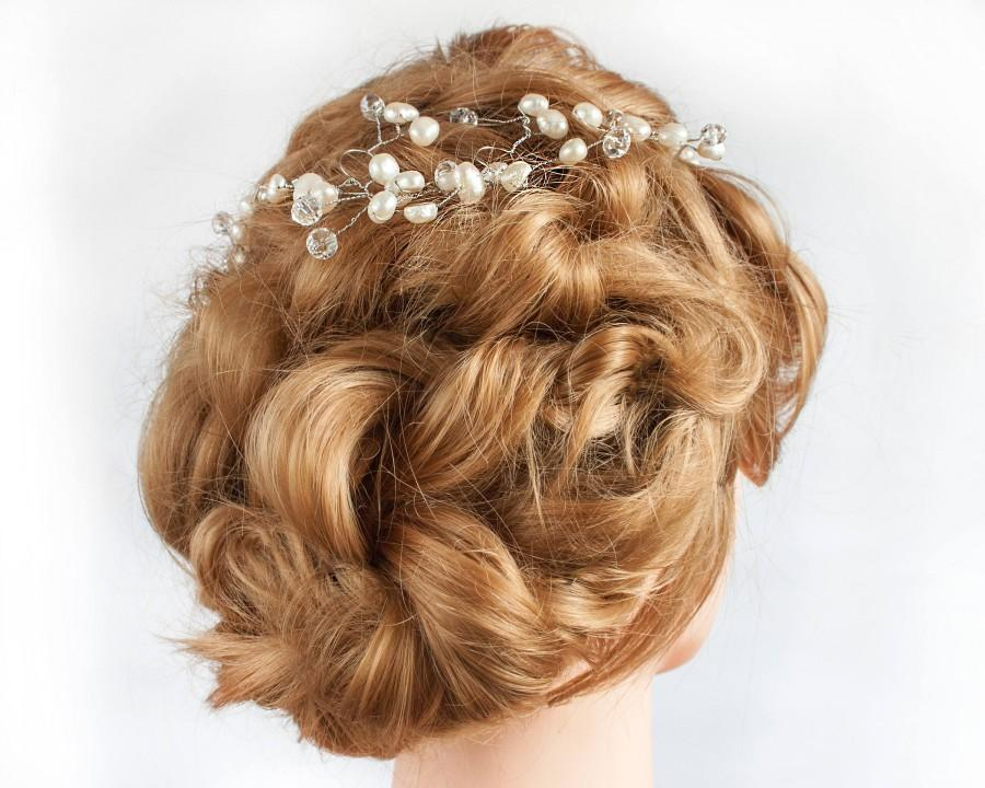 Wedding - Pearl Crown Hair Vine, Wedding Natural Pearl, Pearl Hair Accessories, Bridal Pearl