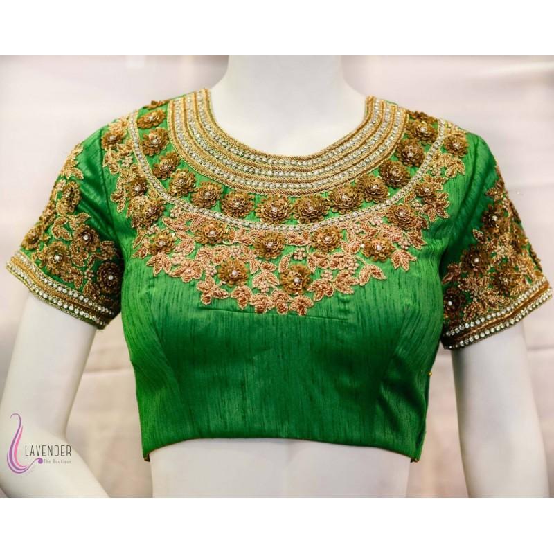 زفاف - Hand Embroidered Green Saree Blouse - Hand-made Beautiful Dresses