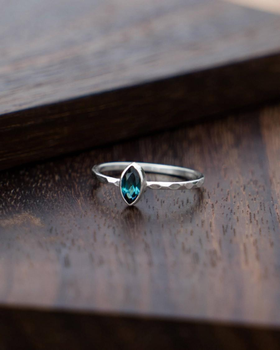 Mariage - Blue Tourmaline Ring, White Gold Ring, Minimalist Ring, Faceted Gemstone Ring, Engagement Ring Gold, Simple Ring, Stackable Ring