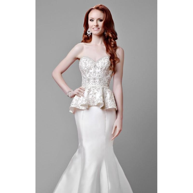 Nozze - Peplum Mermaid Gown by Adagio Bridal - Color Your Classy Wardrobe
