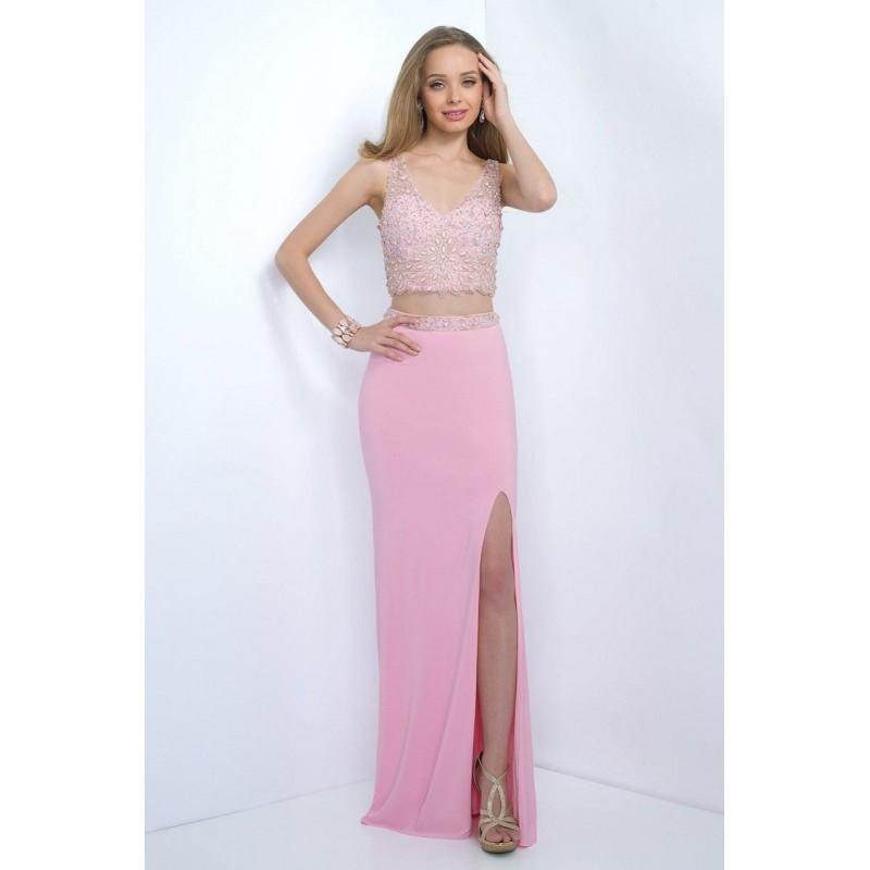 Boda - Blush 11107 Prom Dress - Long Illusion, Sleeveless, V Neck Prom Blush 2 PC, Crop Top, Natural Waist Dress - 2017 New Wedding Dresses