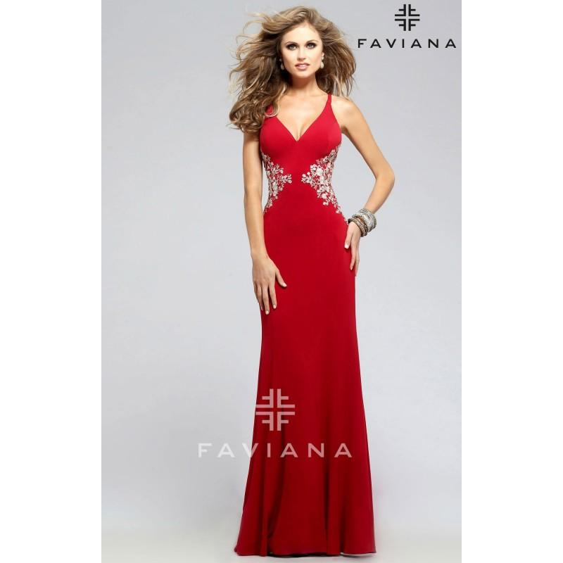 Wedding - Navy Faviana 7756 - Corset Back Open Back Dress - Customize Your Prom Dress