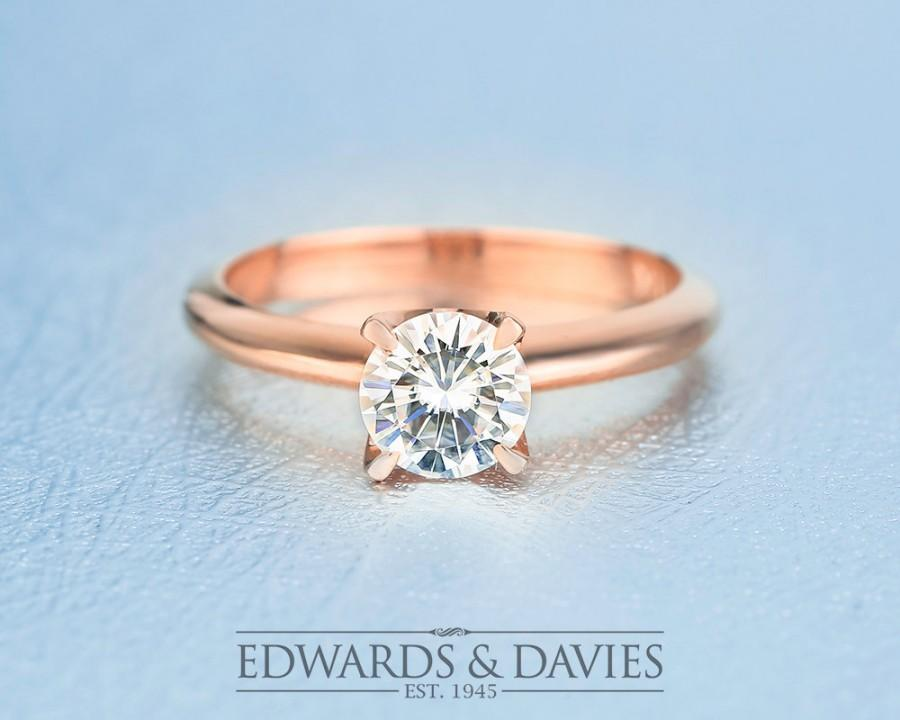 Wedding - Rose Gold Solitaire Moissanite Engagement Ring