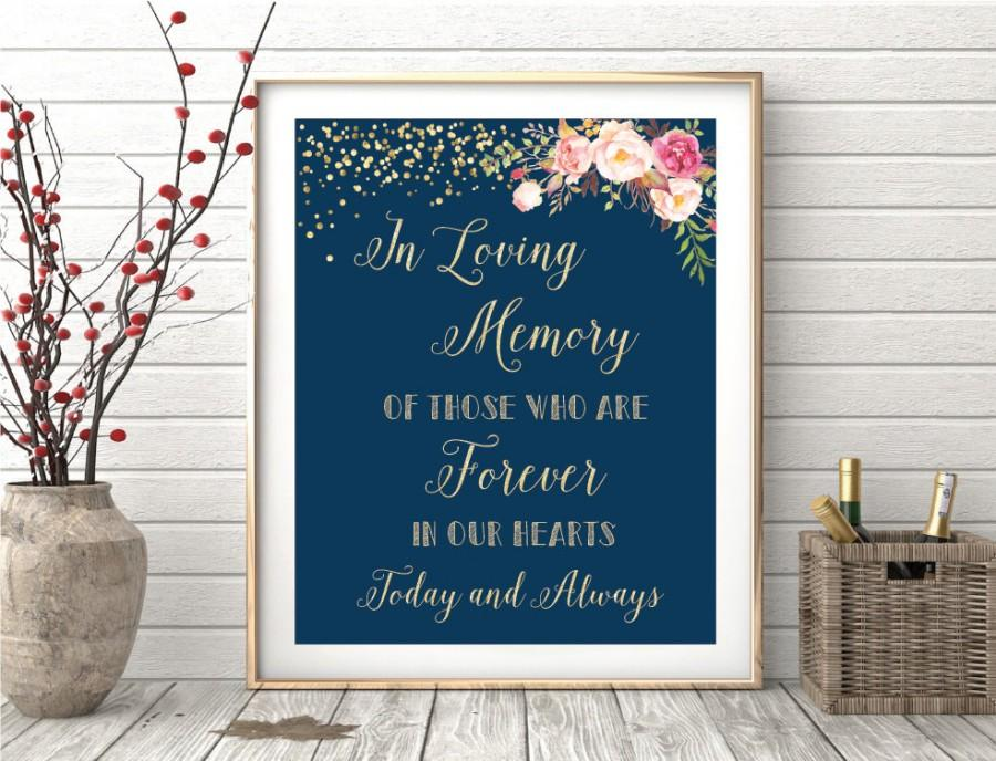Wedding - In loving memory sign, remembrance sign, In loving memory wedding sign, Memory table sign, Wedding memory table, Wedding memorial table