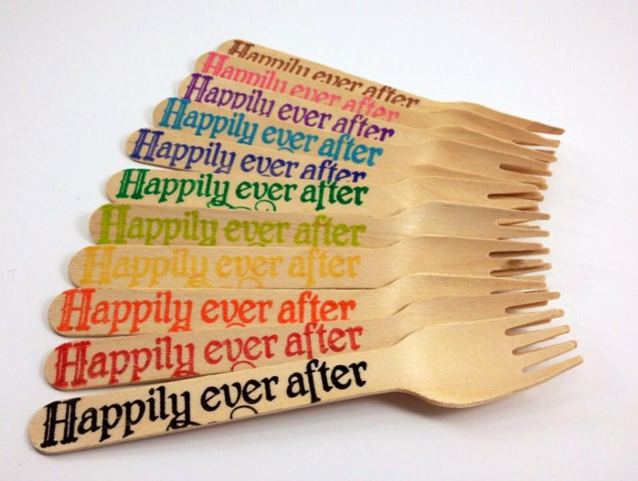 Wedding - 25 Happily Ever After, Wooden Forks, Wooden Utensils, Wooden Cutlery, Wooden Spoon, Wooden Silverware, Wedding
