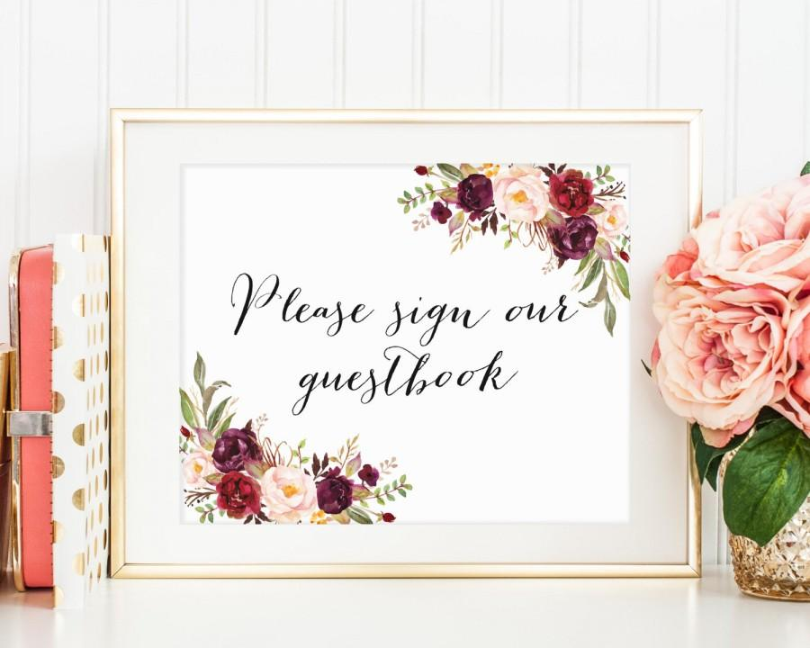 Boda - Please Sign Our Guestbook Sign, Wedding Guestbook Printable, Wedding Guestbook Sign, Floral Guestbook Sign, Floral Wedding Decor, Marsala