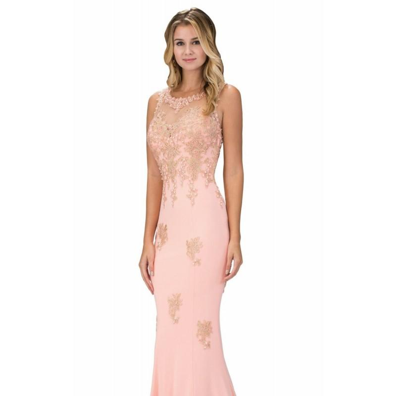 Boda - Peach Beaded Long Gown by Elizabeth K - Color Your Classy Wardrobe