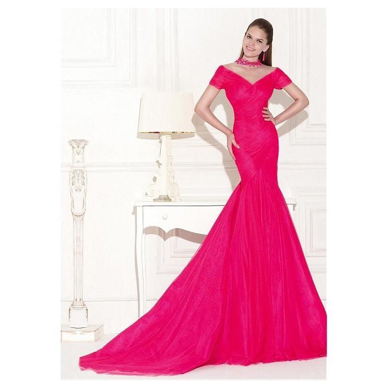 Boda - Chic Tulle Illusion High Neckline Mermaid Evening Dress - overpinks.com
