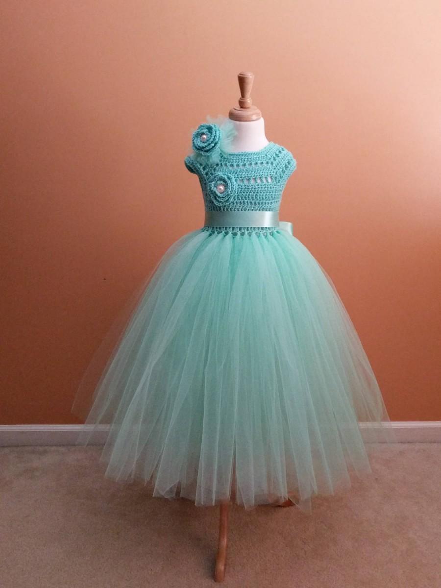 Mint Green Tutu Dress Toddler Flower Girl Princess Birthday Long Baptism