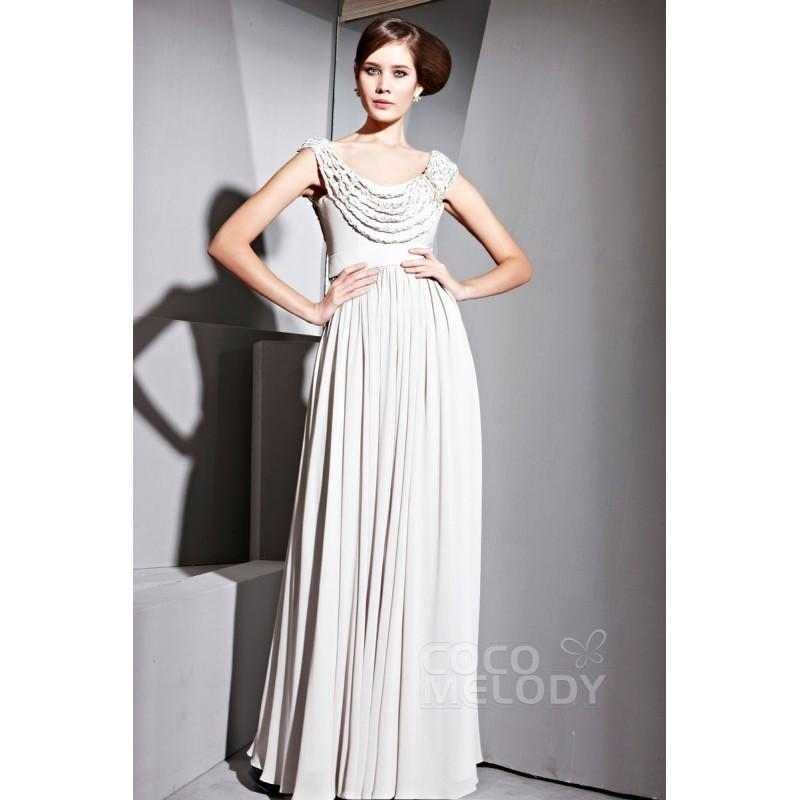 Wedding - Gorgeous Sheath-Column Cowl Floor Length Chiffon Evening Dress with Beading COSF14019 - Top Designer Wedding Online-Shop