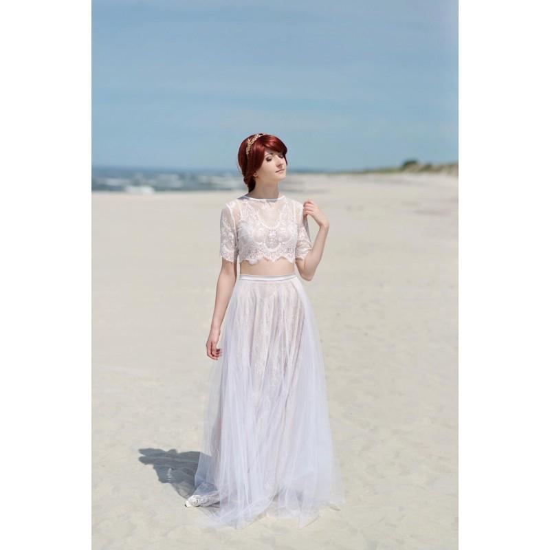 Hochzeit - Alexandra - boho wedding dress  / hippie wedding dress / beach wedding dress / crop top wedding dress / lace wedding dress - Hand-made Beautiful Dresses