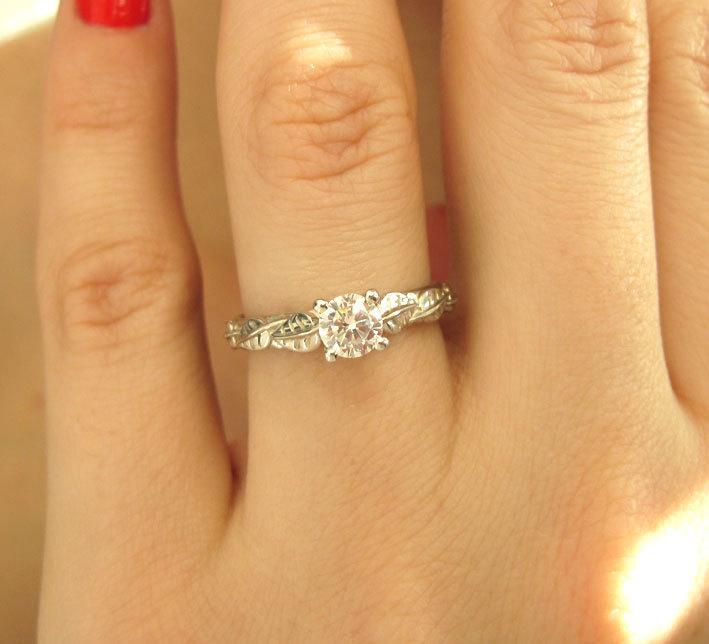 زفاف - Moissanite Engagement Ring, Moissanite Ring, Leaves Ring, Antique Ring, Leaf Ring, Antique Engagement Ring, Rose Gold Engagement Ring