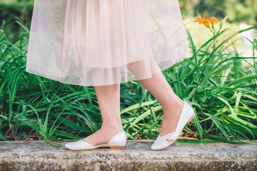 Flat Wedding Shoes Flat Vegan Shoes Pearl Bridal Flats Peep