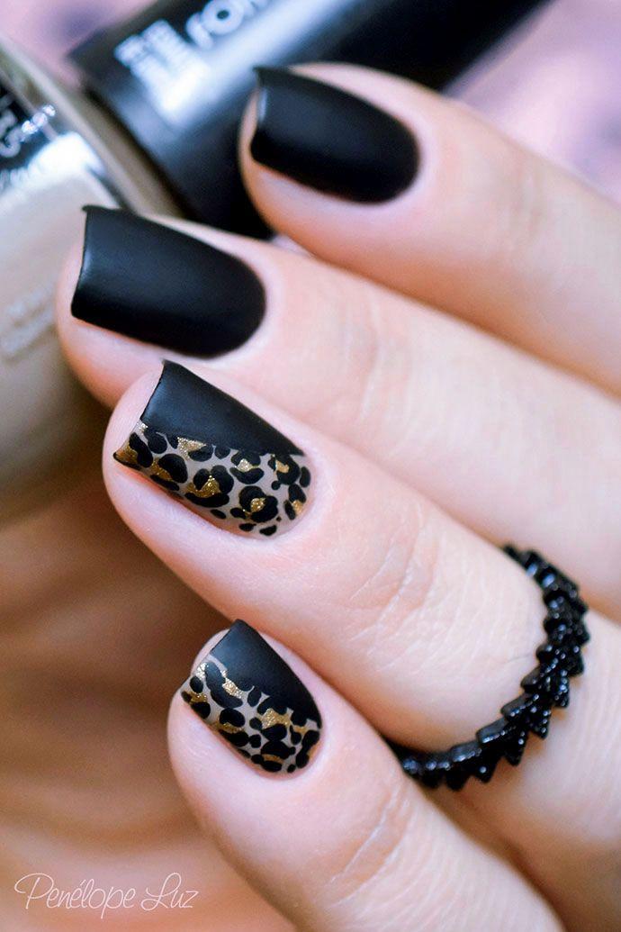 زفاف - Gold And Black Leopard Nails
