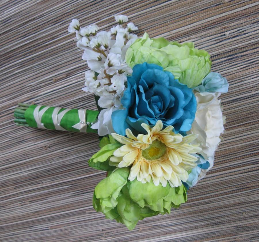 Mariage - Silk Bridal Bouquet, Silk Flower Bouquet - Spring/Summer Wedding, Ivory Rose, Blue Rose, Yellow Daisy, Green Ranunculus,Teal Blue, Aqua Blue