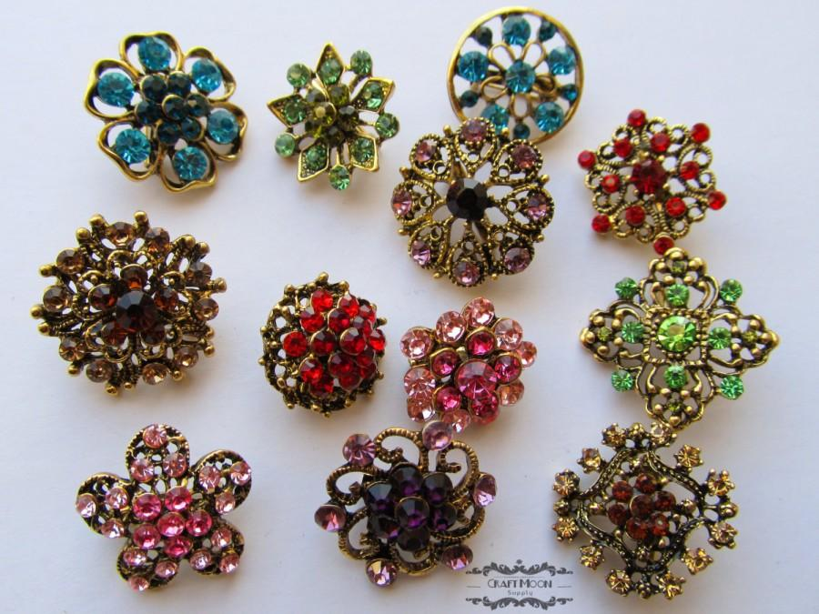 Mariage - 12 Rhinestone Button Antique Bronze Brooch Lot Brass Multi Color Pin Mixed Wholesale Crystal Wedding Bouquet Brooch Bridal Hair Cake DIY Kit