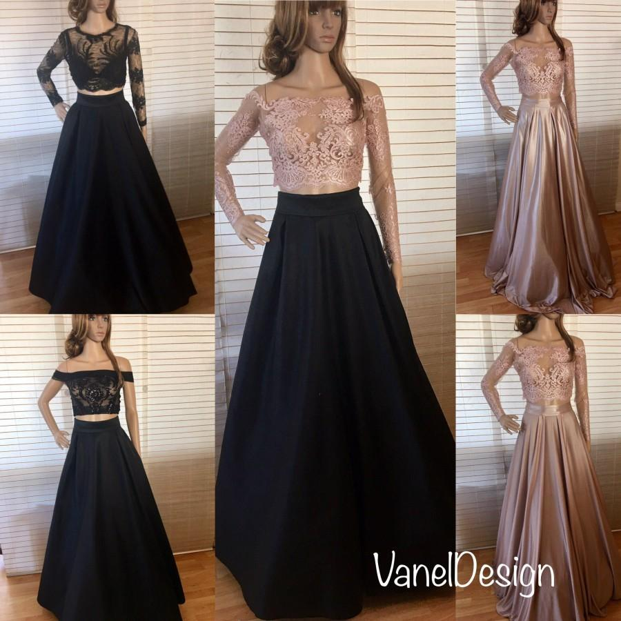 2e3aa00a2 Sequins Bodice Crop-Top Two Piece Prom Bridesmaids Gown Two Piece Long  Dress Maxi Skirt with pockets Elegant Famous skirt formal pleated