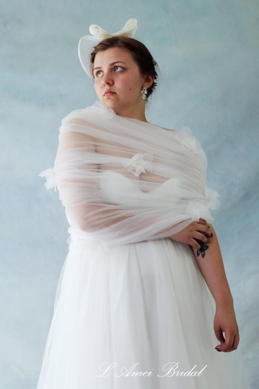 Simple Tulle Wedding Bridal Wrap Cape Shawl With White Organza
