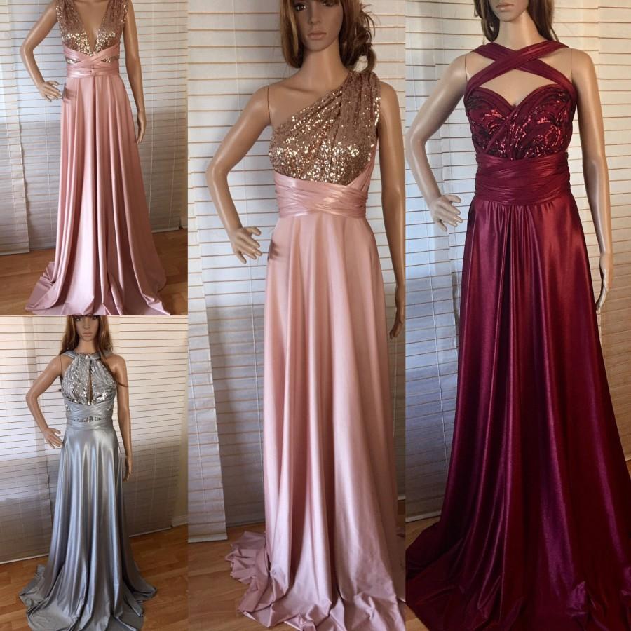 Bridesmaid Dress Blush Grey Burgundy Sequins Infinity Bridesmaids Custom Designed Convertible Long Wrap