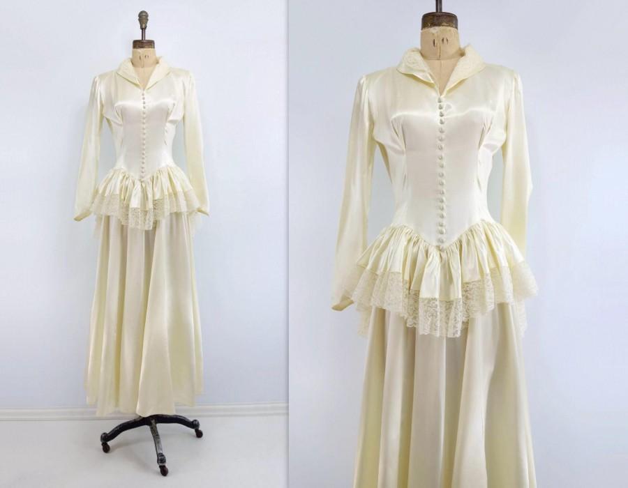 1940s Wedding Dress 40s Wedding Gown Vintage Wedding Dress Ivory ...