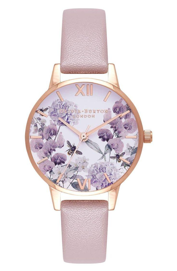 Mariage - Bee Floral Faux Leather Strap Watch, 30mm