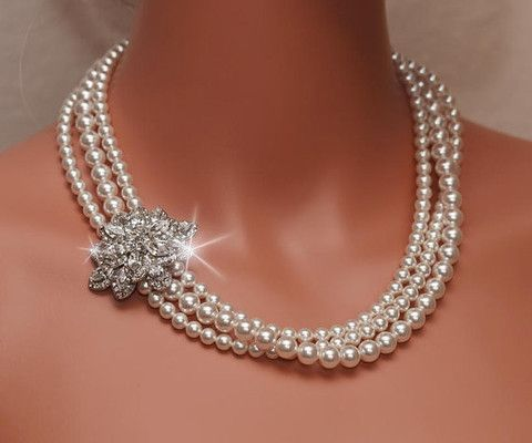 Wedding - ARIANA - Rhinestone And Swarovski Pearl Bridal Necklace