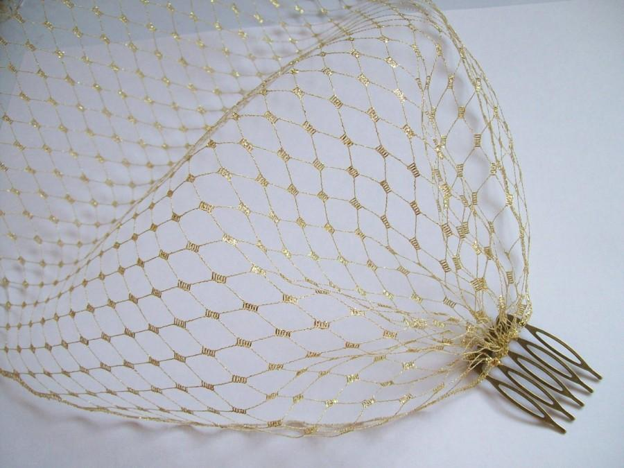 Свадьба - Metallic Gold Russian Veiling Birdcage Bandeau Blusher Wedding Bridal Veil - Comb Attachment