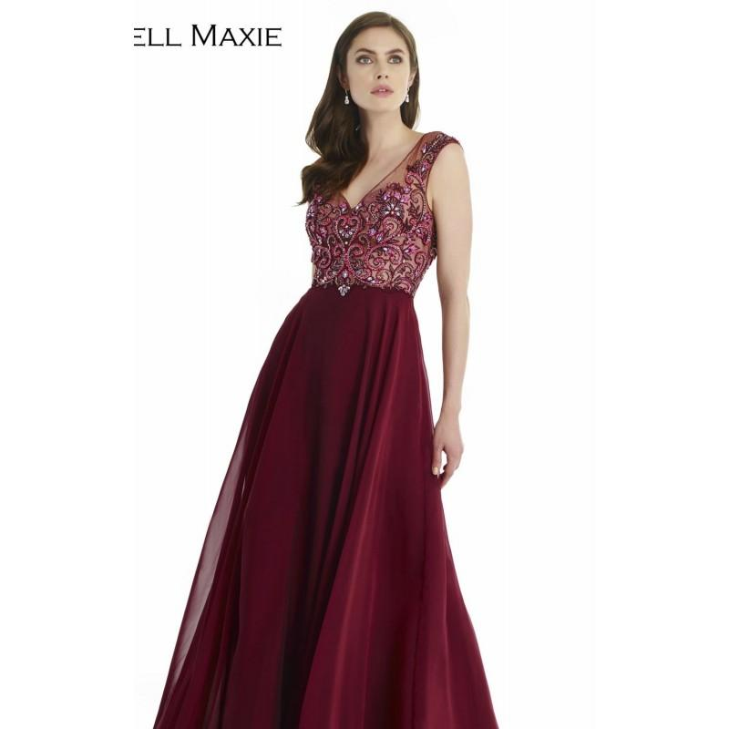 Mariage - Wine Beaded Embroidered Gown by Morrell Maxie - Color Your Classy Wardrobe
