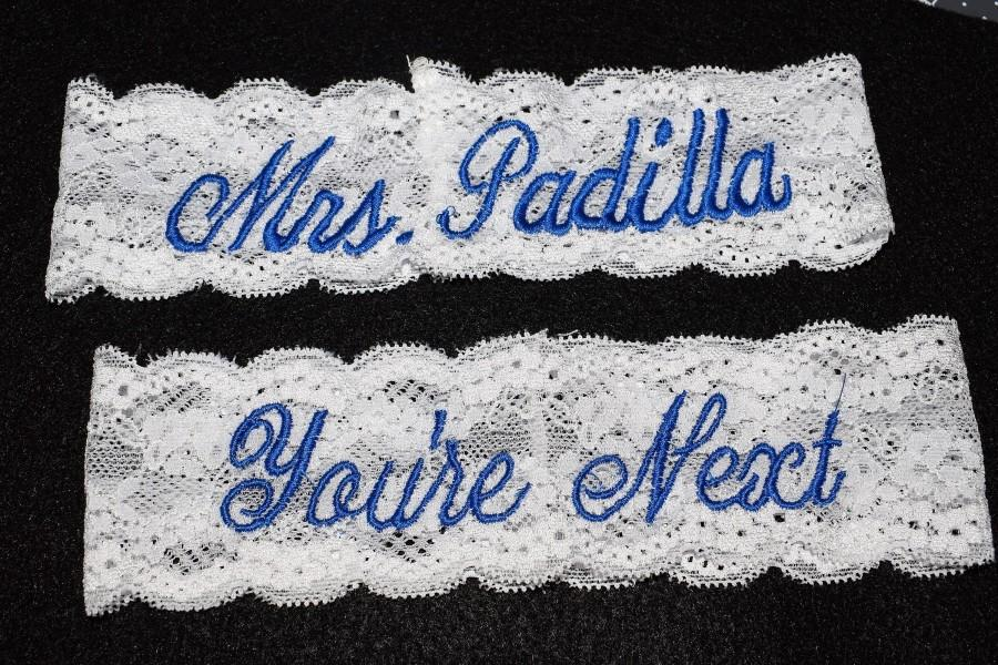 Свадьба - Wedding Garter Set of 2, Personalized Garters, Something Blue, You're Next, Wedding Garter, Personalized Wedding Garters, Toss Garter