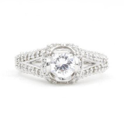 زفاف - 0.75 Ct Round Cut Cz Engagement Ring, Size 6.5, 925 Sterling Silver (775)