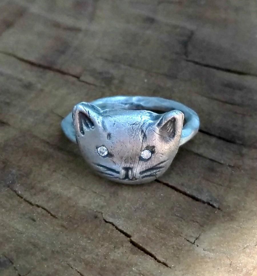 زفاف - Diamond Cat ring, Rustic Silver and  diamond Kitty Ring ,  engagement ring, diamond statement ring,Diamond stackable ring,  birthstone ring