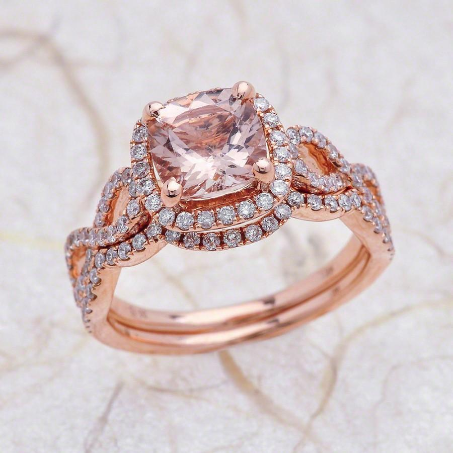 زفاف - 8x8mm Cushion Cut Peach Morganite Halo Engagement Ring with Wedding Band in 14K Rose Gold