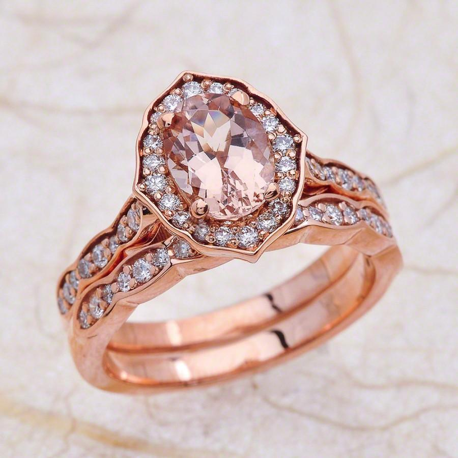 Hochzeit - 8x6mm Oval Cut Morganite Halo Scalloped Engagement Ring with Wedding Band in 14K Rose Gold