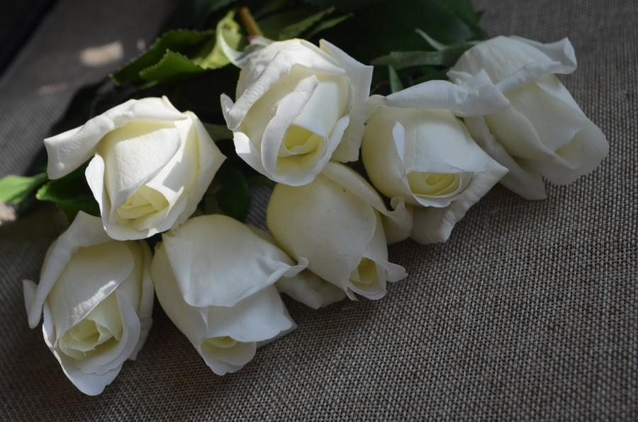 Wedding - 10Stems Cream White Real Touch Rose Buds for Wedding Centerpieces Silk Bridal Bouquets Artificial Flowers