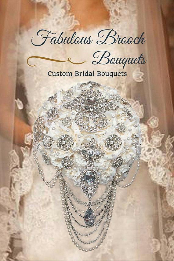 Wedding - Brooch Bouquet, Cascading Brooch Bouquets, Elegant Brooch Bouquets, Ready To Ship, Deposit 150.00, Full Price 425.00 and up