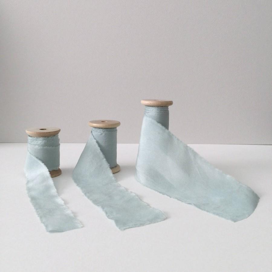"Свадьба - DUSTY BLUE Plant Dyed Silk Ribbon — 1"", 1.5"" or 2.5"" wide — bridal bouquet, invitations, fine art wedding styling"