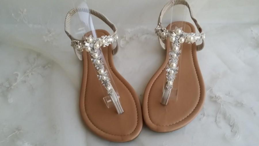 Mariage - Ivory Wedding Sandals with Crystals and Pearls Bridal Sandals  Destination Wedding Sandals Beach Wedding Sandals Beach Wedding Shoes
