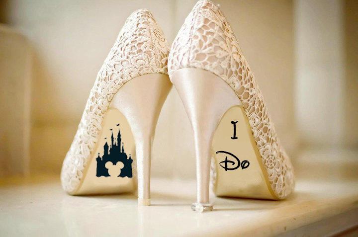 d57592570391 Disney Wedding Shoe Vinyl Sticker Decal With Name   Date Decorations Bridal  shoe Bridesmaid I Do Etc