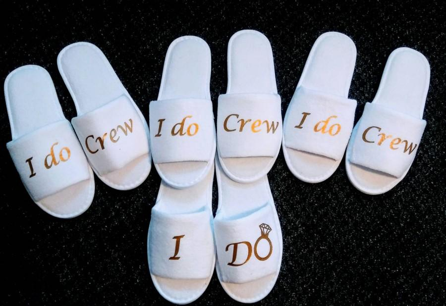 61faad49970561 Bridesmaids Gifts- Bridesmaid Slippers - Bride Slippers - Slippers- Wedding  Slippers - Bridal Slippers - Custom Slippers - I do crew