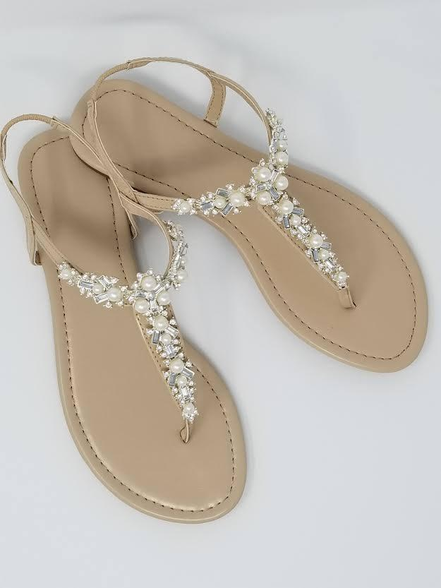 Ivory Wedding Sandals With Pearls And Crystals Bridal Destination Beach Shoes