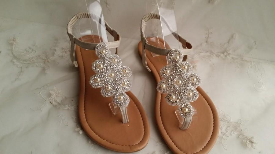 Ivory Wedding Sandals With Sparkling Crystals And Pearls Bridal Sandal Destination Beach Shoe