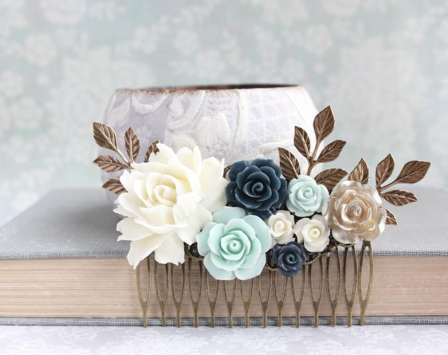 Wedding - Floral Hair Comb Bridal Hair Piece Mint and Navy Wedding Ivory Cream Rose Comb Vintage Inspired Bridesmaids Gift Flowers For Hair Gold Rose