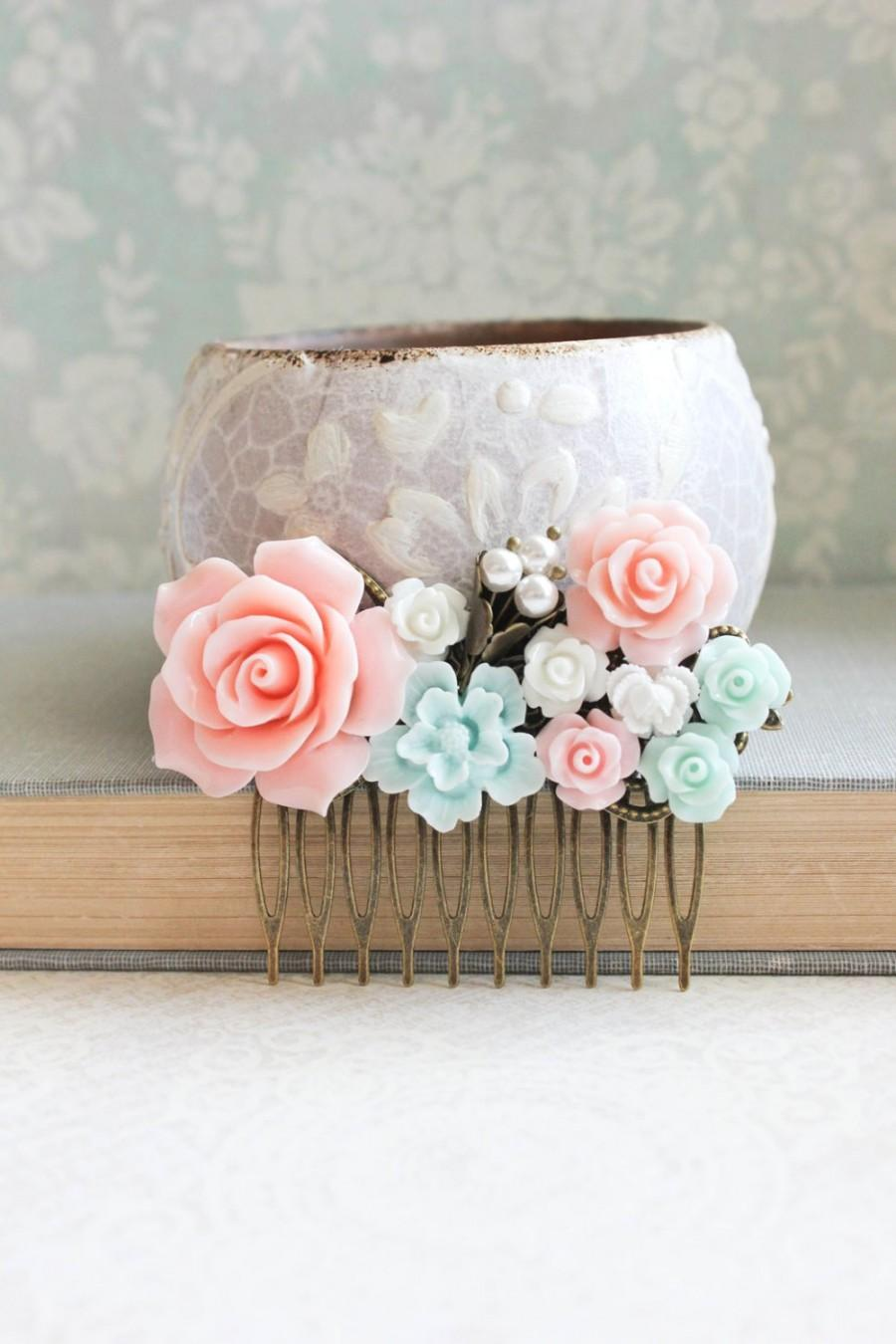 Mariage - Pink Rose Comb Pink and Aqua Mint Wedding Bridal Hair Piece Flower Hair Comb Floral Collage Comb Pastel Wedding Country Chic Bridal Comb